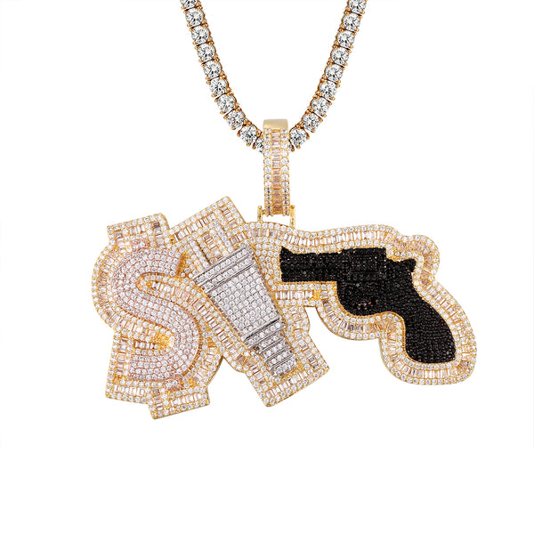 Baguette 3D Money Plug Respect Gun Icy Custom Hip Hop Pendant