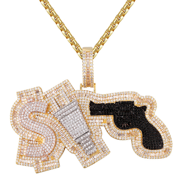 money power respect gun diamond icy bling baguette 3D pendant Chain