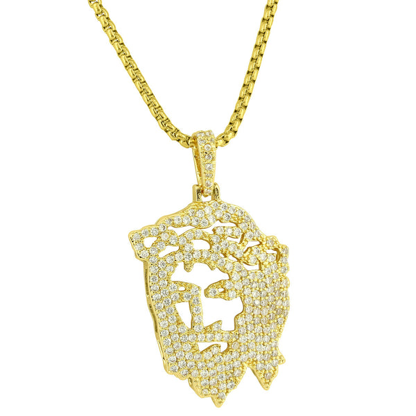 Custom 14k Gold Plate Hip Hop Simulated Diamond Ghost Jesus Piece Heavy