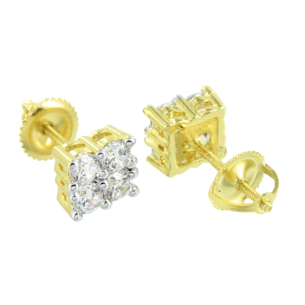 Yellow Gold Finish Earrings Solitaire 4 Prong Set Screw Back