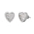 Baguette Solitaire Rows Icy Sides 3D Silver Heart Earrings
