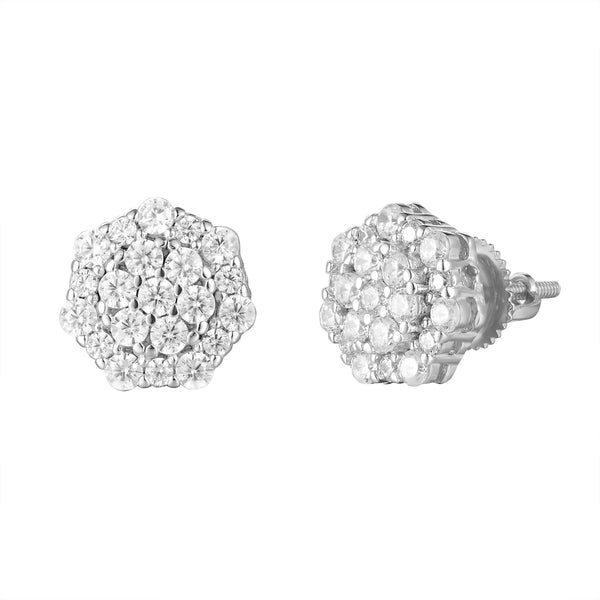 Designer Bling Flower Cluster Screw Back Silver Earrings