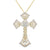 Bling 14k Gold Finish Luxurious Cross Solitaire Pendant