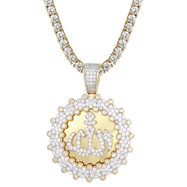 Arabic Allah Sign Cluster Iced Out Medallion Silver Pendant