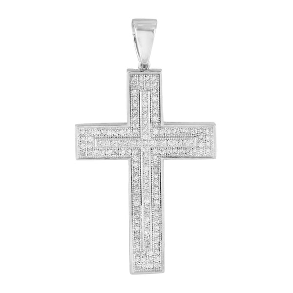 White Rhodium Finish Cross Pendant Jesus Charm Free Bead Necklace Simulated CZ