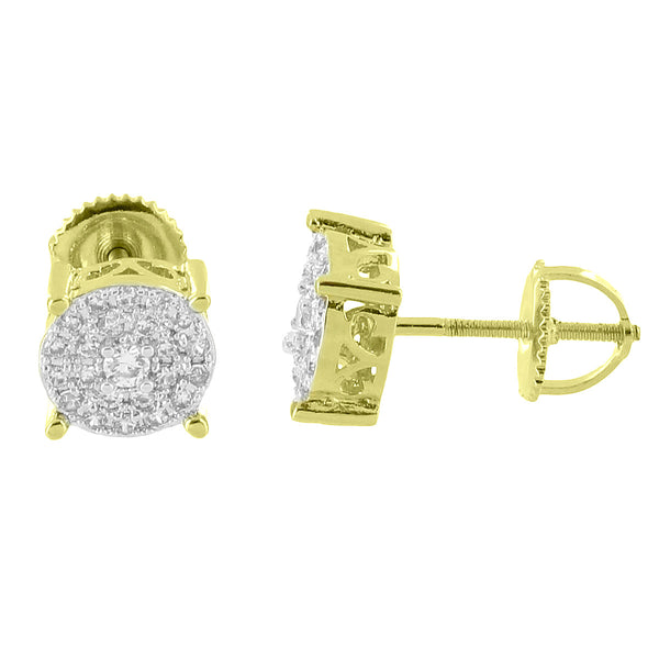 Solitaire Prong Set Earrings Simulated Diamonds 14k Yellow Gold Finish Screw Back Studs