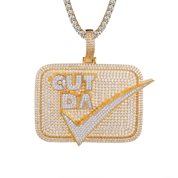 Cut Da Check Icy Gold Tone .925 Square Hip Hop Pendant
