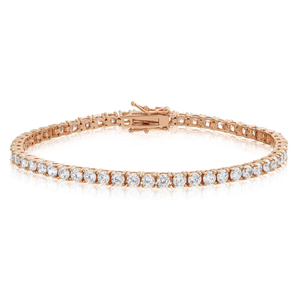 14k Rose Gold Finish Clear Solitaire Tennis Bracelet