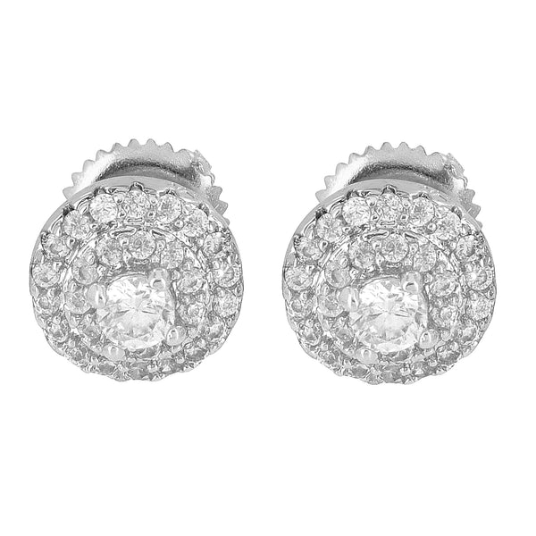 Solitaire Earrings Simulated Diamonds Cluster Set Studs Screw On