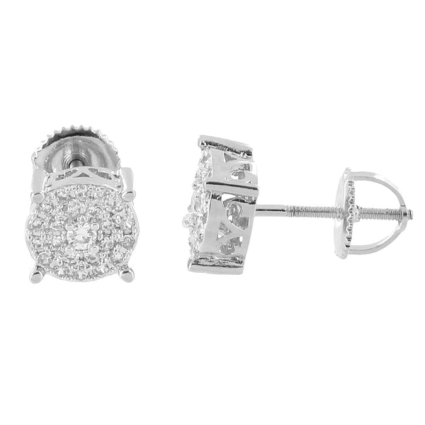 Solitaire Prong Set Earrings Screw Back 14k White Gold Plate Iced Out Lab Diamonds 8mm Iced Out