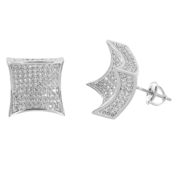 Kite Shape Earrings 14k White Gold Plate Iced Out Simulated Diamonds Screw Back Micro Pave