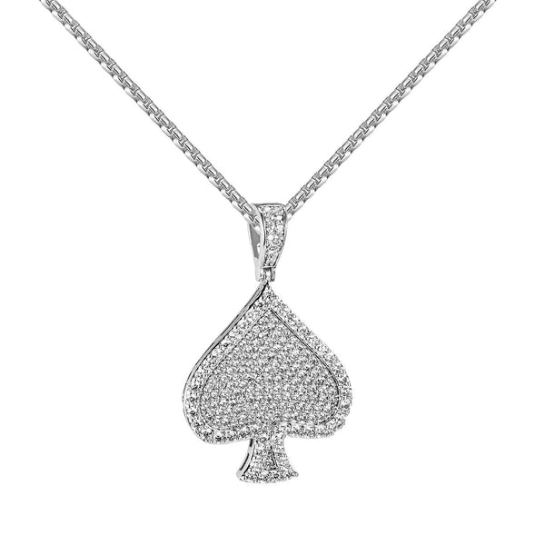 Silver Tone Cards Deck Spades Pendant Full Bling Simulated Diamonds Steel Chain