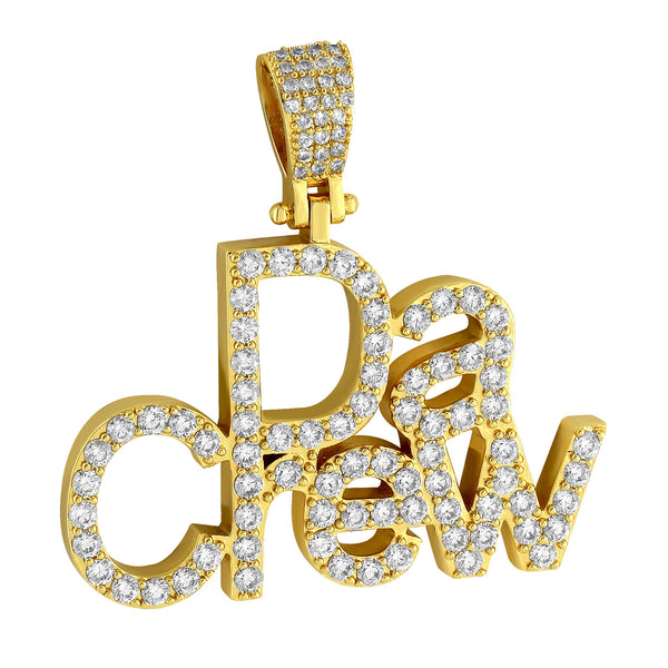 Designer Men's Da Crew Fully Iced Out Custom Lab Diamonds 14k Gold Finish Pendant
