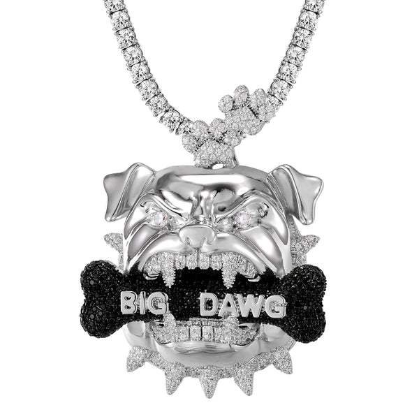 Mens Black Icy Big Dawg Bone Bulldog Head Rapper Pendant