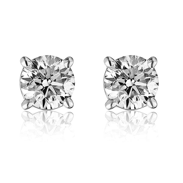 Sterling Silver 7mm 2.60Ct VVS Moissanite Diamond Earrings