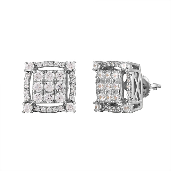 Square Cut Out Solitaire Prongs White Gold Finish Silver Earrings