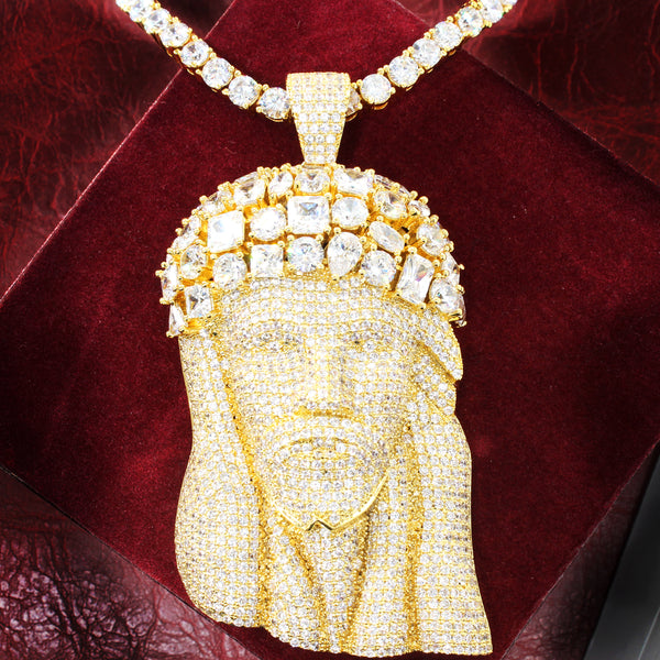 14k Gold Finish Big Jesus Head Solitaire Pendant Chain