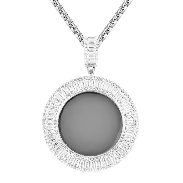Sterling Silver Baguette Circle Picture Memory Pendant Chain