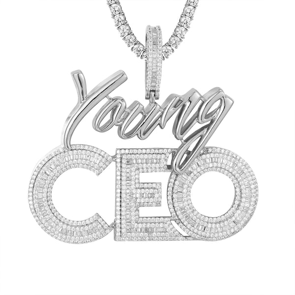 Mens Young CEO Rich Silver Baguette Icy Hip Hop Pendant