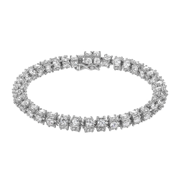 Rolo 360 Iced Out Lab Diamonds Silver Finish Bracelet