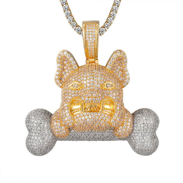 Two-Tone 3D Icey French Bulldog With Bone Designer Pendant