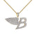 Angel Wings Luxury Car Logo B Pendant Iced Out 14k Gold Finish Free 24