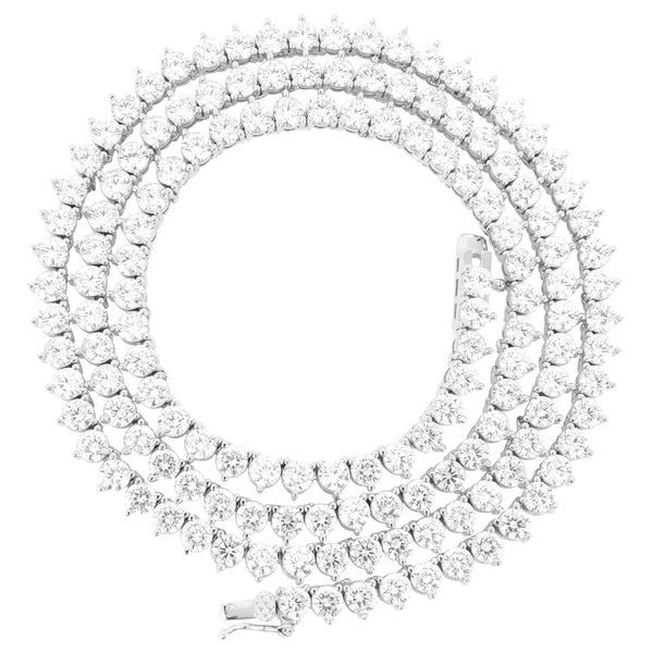 4mm solitaire 3 Prong  14k White Gold Finish Tennis Necklace