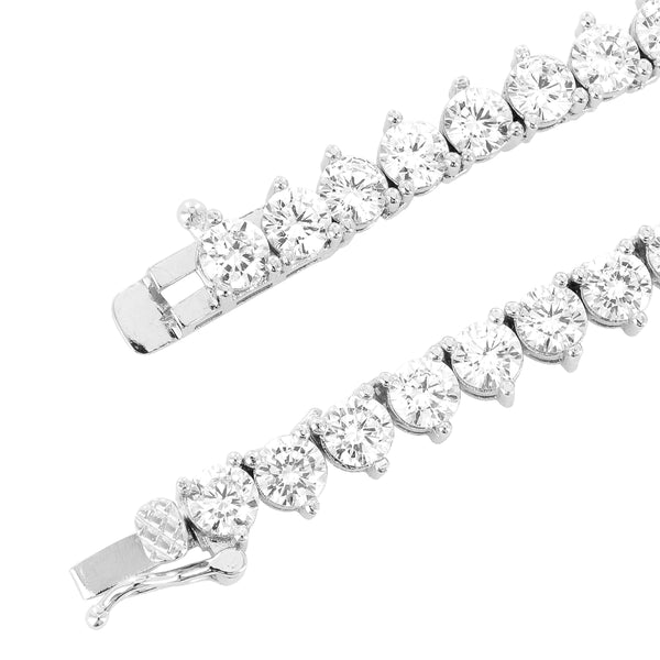 4mm Solitaire 3 Prong 14k White Gold Finish Tennis Chain