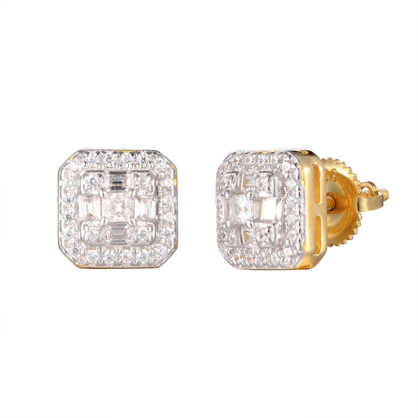 3D Baguette Micro Pave Square Shaped Designer Silver Studs