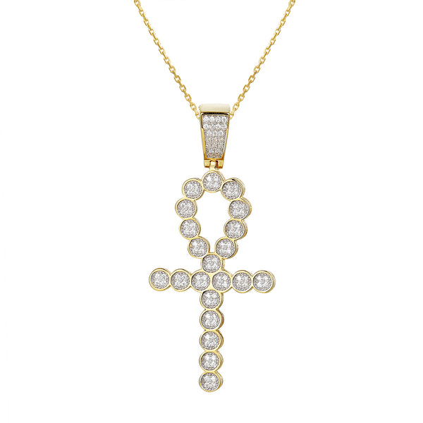 Round Link Ankh Cross 14k Gold Finish silver Pendant