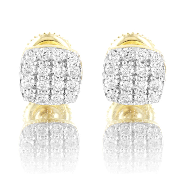 10k Gold Square Micro Pave 0.5Ct Genuine Diamonds Classy Earrings