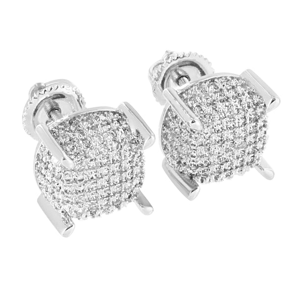 Iced Out Earrings 14K White Gold Finish Micro Pave Simulated Diamonds Hip Hop Screw Back