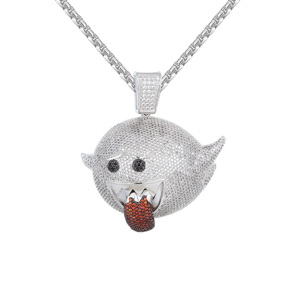 Men's Flying Ghost Emoji Red Iced Out Hip Hop Pendant