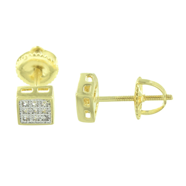 Square Gold Finish Earrings Studs