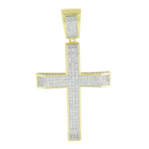 Gold Finish Cross Pendant Iced Out Simulated Diamonds Free Bead Necklace Custom