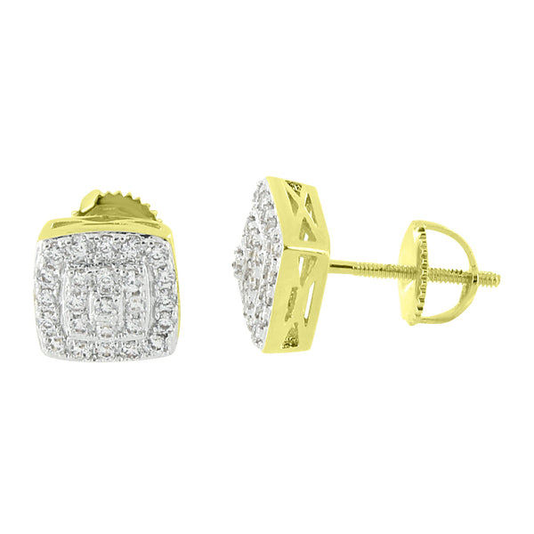 Hip Hop Earrings 14K Yellow Gold Finish Simulated Diamonds Iced Out Prong Set Screw Back