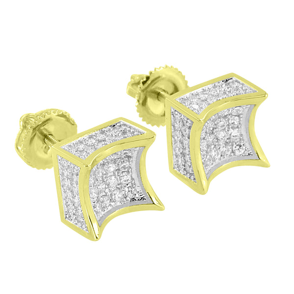 Kite Shape Earrings  Simulated Diamonds 14k Gold Finish Screw On Hip Hop Mens