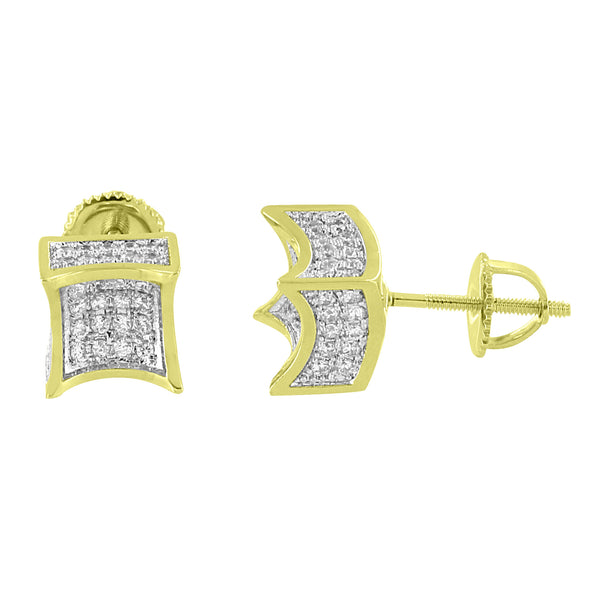 Kite Shape Earrings Iced Out Simulated Diamonds 14k Gold Finish Screw On Hip Hop Mens