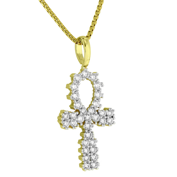 Prong Set Ankh Cross Pendant Symbol Of Life Lab Diamonds Stainless Steel Chain Men