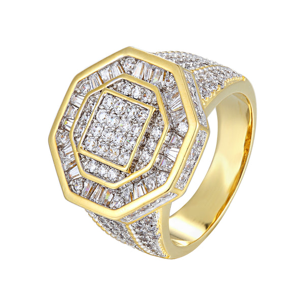 Designer Men's Hip Hop Baguette Iced Out Octagon Shape Ring