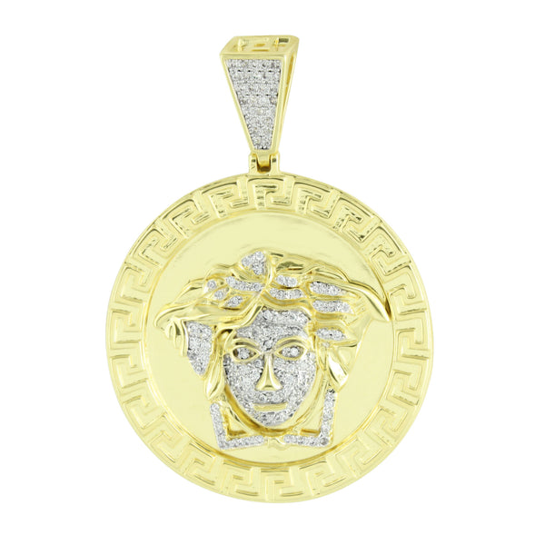 Medusa Face Round Pendant Solid Back Greek Mythology Simulated Diamond