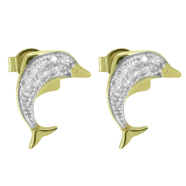 Women's Sterling Silver Iced Out Fish Style 14k Gold Finish Fashion Stud Earrings