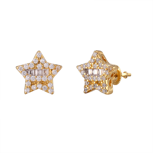 Small Baguette Star Yellow Gold Finish .925 Earrings