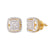 Gold Finish 3D Square Shape Micro Pave 925 Silver Earrings