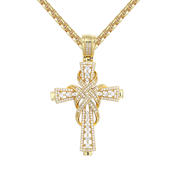 Solitaire Designer Ribbon Jesus Cross 14k Gold Finish Pendant