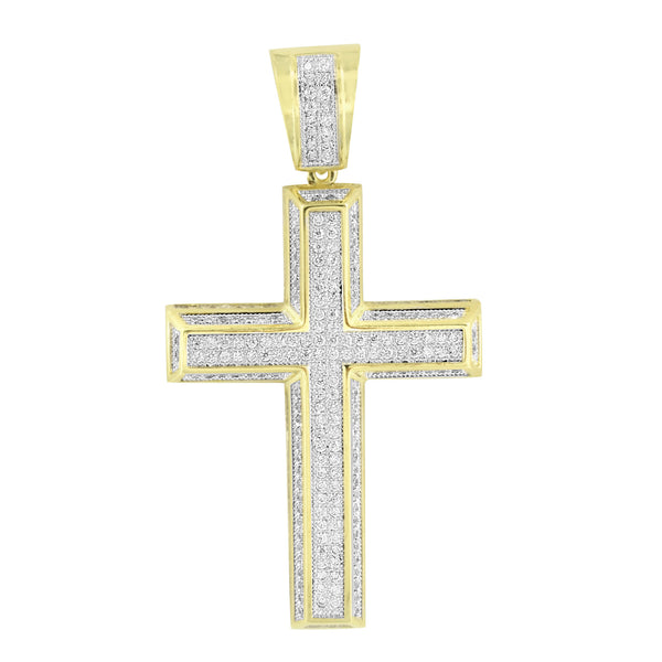 Cross Pendant Jesus Charm Bead Necklace Yellow Gold Finish Simulated Diamonds