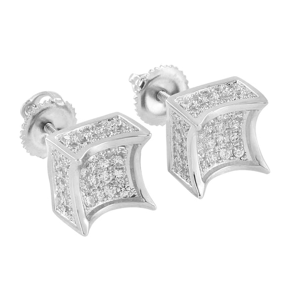 Kite Designer Earrings Iced Out Simulated Diamonds 14K White Gold Finish Screw Back 8mm