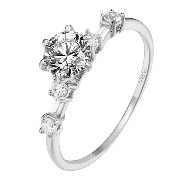 925 Sterling Silver Solitaire Womens Ring Wedding Engagement Prong Set Gorgeous