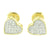 Womens Heart Shape Earrings Yellow Gold Finish