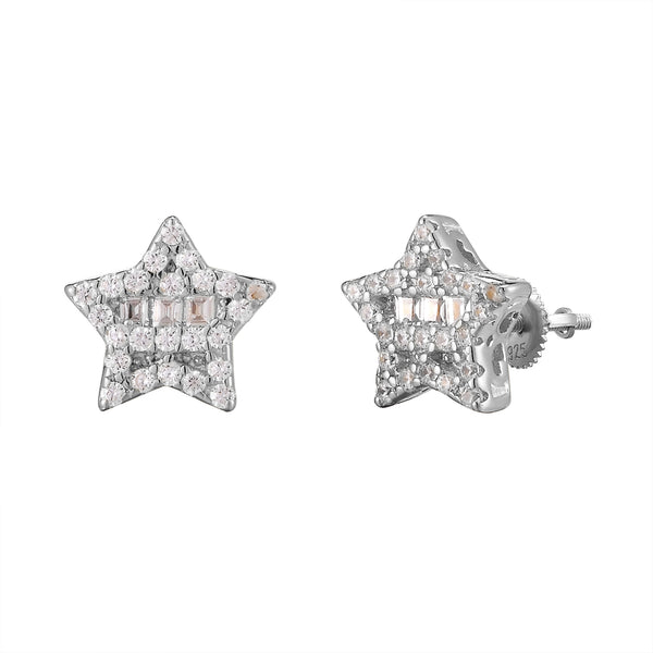 One Row Baguette Solitaire 3D Silver Small Star Earrings
